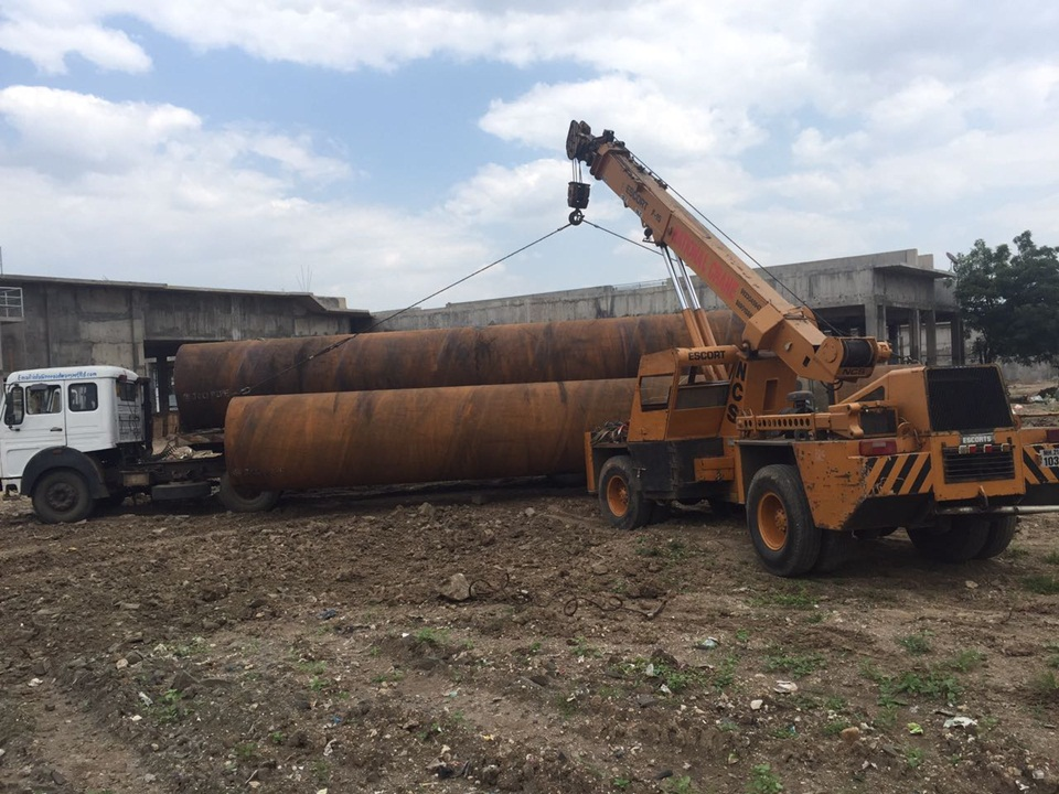 01.Unloading & Stacking of 1626mm Dia M.S. Pipe